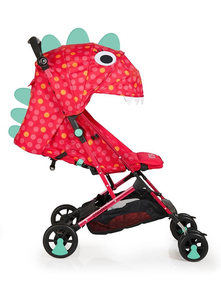 Cosatto Woosh Stroller, from Birth to 25 kg, Miss Dinomite Cosatto Woosh is a from birth pushchair suitable from birth to 25 kg Easy, compact concertina fold with auto lock, woosh is ultra-lightweight at 6 kg Woosh has a upf100+ double-tiered hood and extendable visor 1