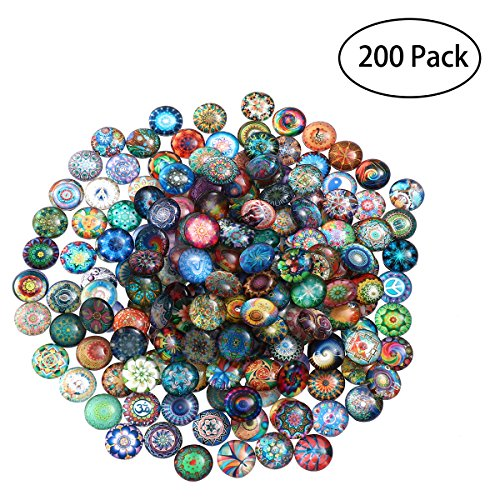 ULTNICE 200pcs Round Glass Mosaic Tiles Mixed Mosaic Glass Pieces for DIY Crafts Jewelry Making 10mm