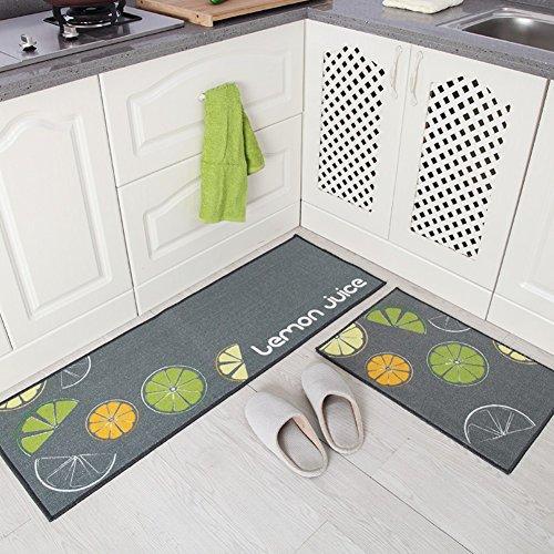 Treppe Läufer-gummi (Indeedshare Kitchen Rugs Mats Küche Teppiche Gummirückseite Dekorative rutschfeste Fußmatte Läufer Bereich Schmutzfangmatten Sets 2 Stück(40cm*60cm+40cm*120cm))