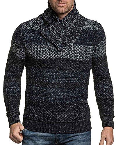 BLZ jeans - Pull homme navy maille épaisse col roulé boutonné Bleu