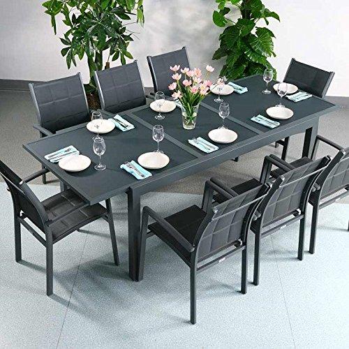 Table Florence et 8 chaises Abigail - GRIS | Table extensible 240cm pour l'intérieur et l'extérieur