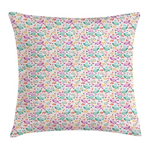 Cupsbags Whale Throw Pillow Cushion Cover, Inspirational Underwater Dream World Rose Flowers Hearts Romance Fishes Doodle Art, Decorative Square Accent Pillow Case, Multicolor20 Cathay Rose