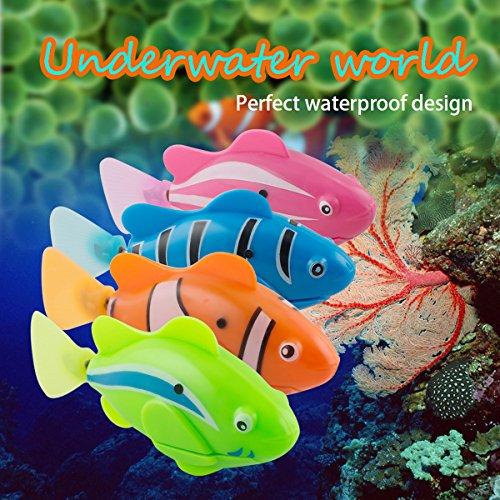 Scenstar Robo-Fisch Clownfisch Lebensechte Bewegungen, Auf- und Abtauchen | Wasserspaß für Kinder | elektronisches Wasser-Spielzeug Deep Sea Wimplefish, elektronisches Haustier bunt - 2