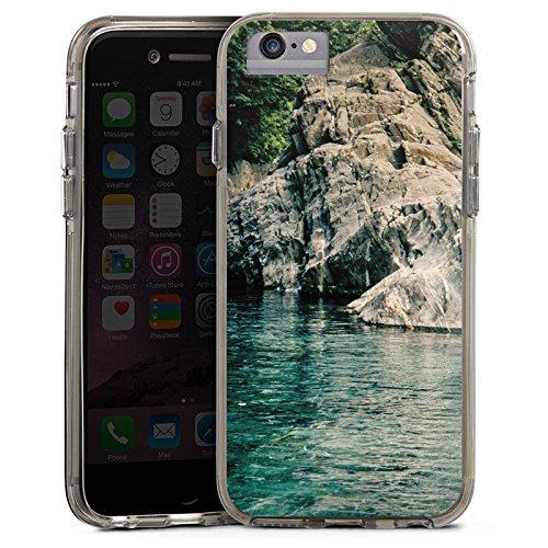 Apple iPhone 7 Plus Bumper Hülle Bumper Case Glitzer Hülle Felsen Mer Bucht Bumper Case transparent grau