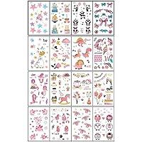 Tatuajes de fiesta de cumpleaños para niños Tatuajes temporales para niña - Paquete de 16 hojas