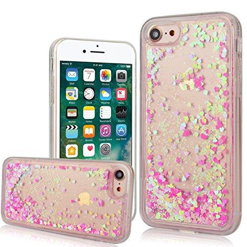 """WE LOVE CASE iPhone 7 4,7"""" Hülle Weich Silikon iPhone 7 4,7"""" Schutzhülle Handyhülle Im Durchsichtig Transparent Crystal Clear Treibsand Glitzer Liquid Quicksand Funkeln Stern Liebe Silber Liebe Muster Rosa Liebe"""