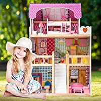 3 Storey Mansion Dollhouse Wooden Kids Doll House Pretend Play Sets With Wooden Furniture & Staircase