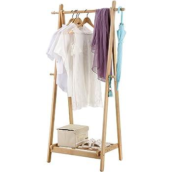 Langria Portant Sèche Linge à Vêtements Pliable Fait En Bois De