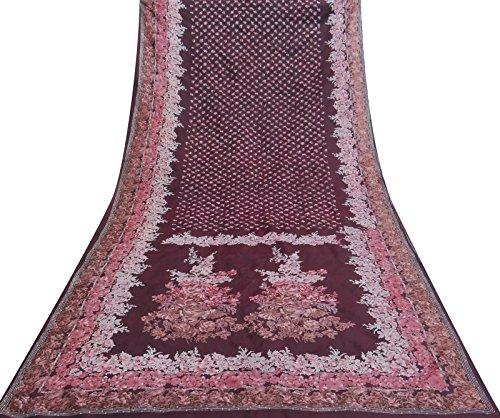 Vintage indische Antike Blumenmuster Saree Ethnische Maroon Stoff Sari Gebraucht (Maroon Sari)