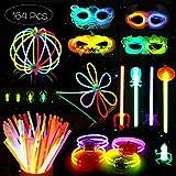 Unomor Knicklichter Party Set, Premium Armbänder, Ketten, Set für Brillen, Dreifach Armbänder, Ein Stirnband, Ohrringe, Blumen, Ein Leuchtball und Vieles Mehr (Halloween Knicklichter Party Set)