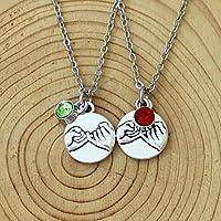 Personalisierte Initiale Birthstone Charm Halskette /Armband Hand in Hand, Herz zu Herz, Beste Freund Halskette /Armband Set, Freund GirlFriend Geschenk, Weihnachtsgeschenke, Couples Geschenk