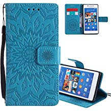 Funda Sony Xperia M2,EMAXELERS Carcasa Con Flip case cover,Funda Sony Xperia M2 Deseando lindo Girasol diseño Flip case cover,wallet Case para Sony Xperia M2,Cierre Magnético,Función de Soporte,Billetera con Tapa Tarjetas Patrón En relieve de Mandala flor de Libro Suave PU Leather Cuero para Sony Xperia M2 with 1 x Stylus Pen,Blue Left and Right Sunflower