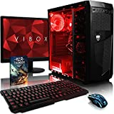 Vibox Standard Pacchetto 3X Gaming PC con Gioco War Thunder, 21.5' HD Monitor, 3.1GHz AMD A8 Quad Core Processore, Radeon R7 Chip Grafico, 2TB HDD, 8GB RAM, Case AvP Mamba, Neon Rosso