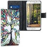 kwmobile Étui en cuir synthétique chic pour Samsung Galaxy A5 (2016) avec fonction support pratique. Design arbre multicolore en multicolore vert blanc