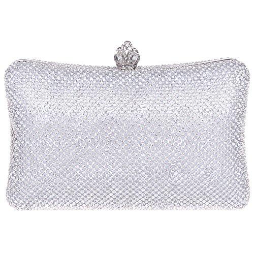 Bonjanvye Mini Crown Clutch Purses with Rhinestone for Women Gold Silver