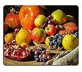 luxlady Gaming Mousepad Bild-ID: 33629773Still Life Harvest Festival of Frisch und Reifen Früchte und Gemüse Kürbis Äpfel Birnen Trauben und Granatäpfel