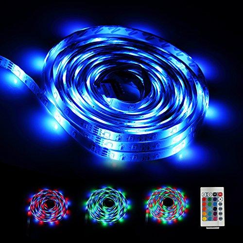 LED Stripes 5m | LED Streifen | infinitoo 5M 2835 RGB 300er LEDs mit Fernbedienung 24 Tasten, Mehrfarbige Bänder für beleuchtung Deko in Küche, unter Schrank, Terrasse, Balkon und Haus Deko