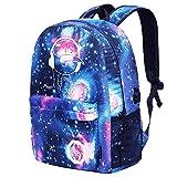 Kinder Rucksack Schulrucksack Luminous Schultasche Kinderrucksack Casual Daypack Galaxy Backpack Schule Tasche mit USB Anschluss