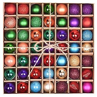 Valery Madelyn 49 Piezas Bolas de Navidad de 3cm, Adornos Navideños para Arbol, Decoración de Bolas de Navidad Inastillable Plástico, Regalos de Colgantes de Navidad