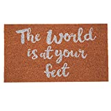 #10: SWHF Premium Coir and Rubber Quirky Design Door and Floor Mat (60x35 cm, World at Your Feet)