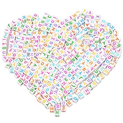 500PCS Buchstabe Perlen gemischt, sortiert, ruix EZ Share Acryl Perlen Alphabet Kid Perlen für Schmuckherstellung, weiß (Alphabet-buchstaben Abgerundete)