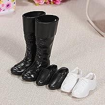3 Pares de Zapatos para Muñeca Novio de Barbie Ken Doll,Ajuste para Príncipe Barbie Dolls 12 Pulgadas Negro y