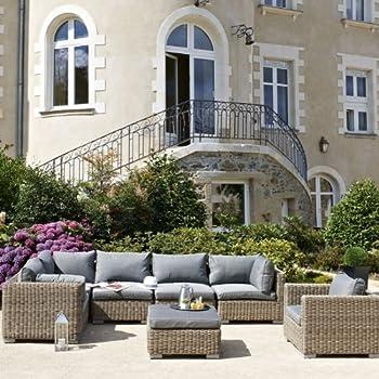 DCB Salon de Jardin Montmartre résine tressée Couleur Naturelle ...