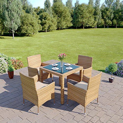 New 5 Piece Rattan Dining Table For Conservatory, Patio, Garden Furniture (Light Mixed Brown)