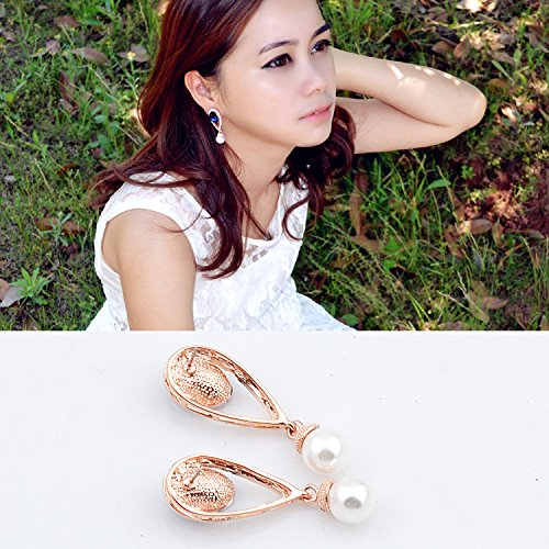 NAKABH Austrian Crystal With Diamond Golden Pearl Dangle & Drop Earrings for Women
