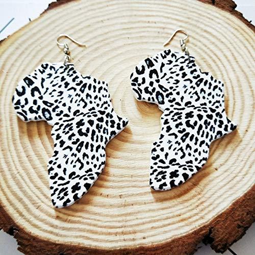 Damen Ohrringe,6 Cm Holz Afrika Karte Typisch Afrikanische Traditionelle Kostüme Leopard Malerei Aminal Ohrringe Vintage Holz Silber Party Club Schmuck Für Damen Mode Personalisierte Vintage Ohrschm (Typische Kostüm)