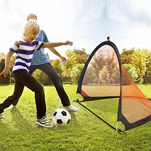 Homgrace 2 Porterías de Fútbol plegable, Práctica Juego de Fútbol Mini Portería Ligero y Puerta Fútbol Portátil para Niños Color Negro y Naranja (122x86x86cm)