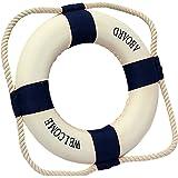 WOVELOT Bouee De Sauvetage Marine Mediterraneen Maison Decoration Bleu-45cm