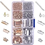 Outus Ribbon Bracelet Kit Bookmark Pinch Crimp Ends Lobster Clasps with Jump Rings and Chain Extenders, 370 Pieces (Multicolor A)