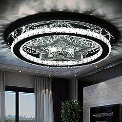 LED Kristall Deckenlampe Rund Design Deckenleuchte 48W Moderne Kreative LED Lampen Starlight Schlafzimmer Kristallleuchte für Wohnzimmer Esszimmer Schönes Dekor Kronleuchter, Ø48cm, Neutralweiß