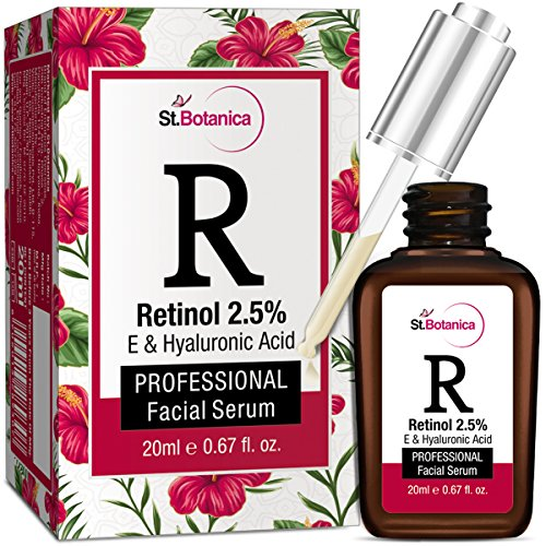 StBotanica Retinol 2.5% + Vitamin E, C & Hyaluronic Acid Professional Facial Serum - 20ml - Anti Aging / Wrinkle Serum, Skin Whitening Serum