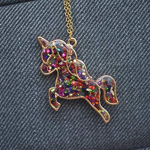 Farbigen Edelsteinen Einhorn Pegasus Blau Glühen im Dunkeln 18K Vergoldet Halskette 65cm Länge