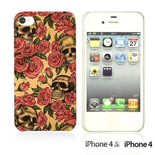 OBiDi - Skull Pattern Hardback Case / Housse pour Apple iPhone 4S / Apple iPhone 4 - Gentlemen Sugar Skull Roses And Skull Pattern