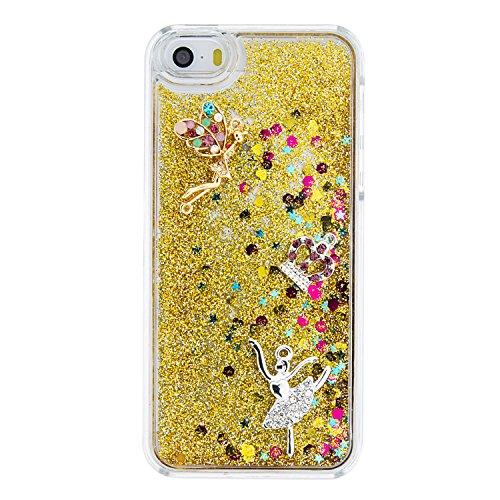 MOONCASE iPhone SE Coque, Glitter Sparkle Bling [Owl] Faux Diamant Dessin Motif Liquide Étui Coque pour iPhone 5 / 5S / SE Durable Étui de Protection Hard PC Back Case Rose 04 Or 03