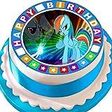"""Essbarer runder Tortenaufleger """"My little pony- Rainbow Dash""""-mit Geburtstags-Bordüre, Durchmesser 19,1cm"""