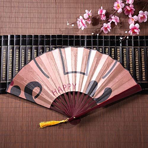 AGIRL Chinesische Fans Für Frauen Nette Interessante Grafik Mit Bambusrahmen Quaste Anhänger Und Stofftasche Japanische Fan Für Kinder Schatten Faltfächer Chinesische Kinder Fan -
