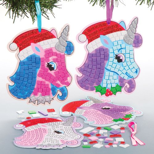 Festive Unicorn Mosaic Hanging Decorations for Children to Make Decorate and Personalise - Creative Xmas Craft Acitivity for Kids (Pack of 4)