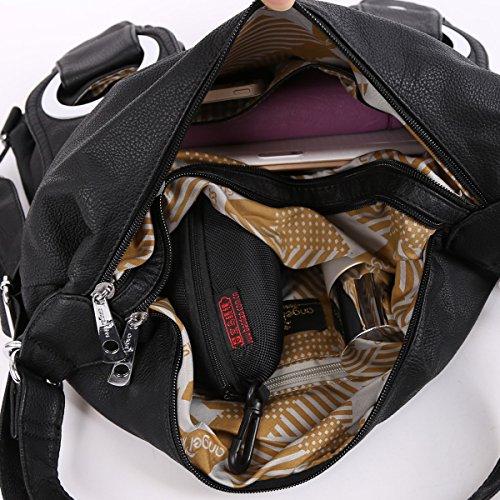 Angelkiss 2 Top Cerniere Multi Tasche Borse Lavato In Pelle A Spalla Zaino Donna W6802 Blu