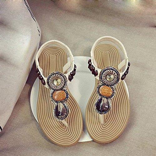 Kingko® Sommer böhmische Sandwich Perle Diamant Perle flach flach mit weiblichen Sandalen schwarz weiß Material Kunstleder Sohlen Material Kunststoff Weiß
