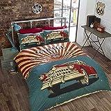 Rétro voiture Housse de couette pour lit double et 2taies d'oreiller de lit lit lit