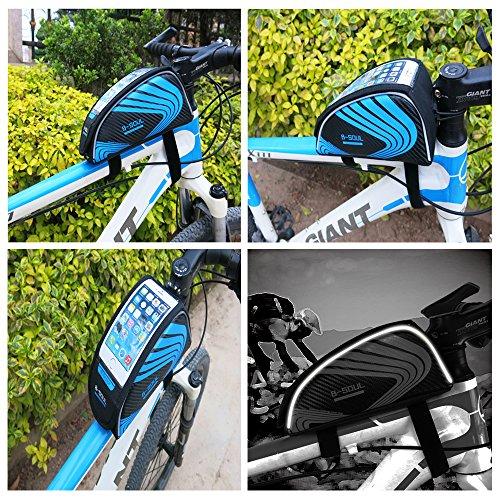 aizhe Bike Fahrrad Top Tube Tasche Rahmen Packtasche Satteltasche Wasser Proof Aufbewahrungstasche für Touchscreen Handy grün