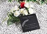 CHRISCK design Gedenktafel/Grabplatte aus Naturschiefer 20x20 cm/Grabstein mit individueller Text-/Namensgravur Selbst Gestalten