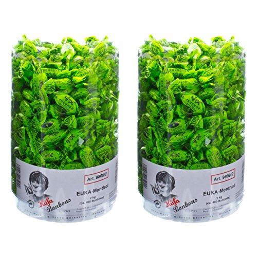 Küfa Euka Menthol Eukalyptus Bonbons, Süßigkeit, Mentholbonbon, Vegan, Hustenbonbons, Grün, 4 KG