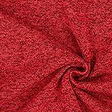 Fabulous Fabrics Strickfleece 3 – Karminrot — Meterware ab 0,5m — zum Nähen von Pullovern, Kleidern und Jacken und Mänteln