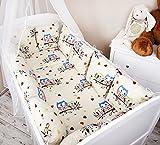 Amilian® Baby Nestchen Bettumrandung 420 cm Design: Eule ecru/ blau groß Bettnestchen Kantenschutz Kopfschutz für Babybett Bettausstattung