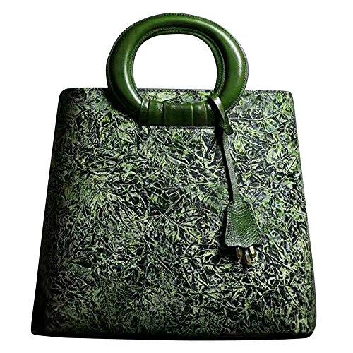 Leathario Borsa di Vera Pelle da Donna Mano Spalla Classico Vintage Estate Elegante Dipinta Lussuosa verde-verticale
